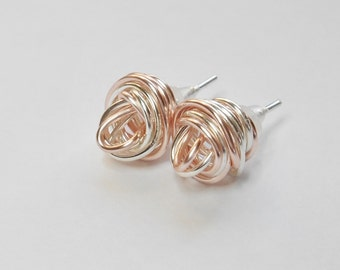 Love Knot Stud With Rose Gold And Silver Hand Made Earrings