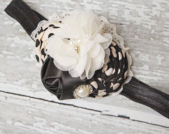 Delightful Domino-  double rosette headband and chiffon flower with lace