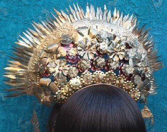 Vintage tiara hair comb Indonesian headdress headpiece belly dance hair accessory hair pin crown hair jewelry hair ornament(AAD)