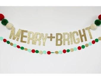 Merry + Bright pom pom banner