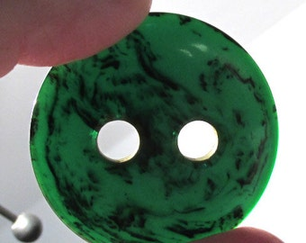 Marbled Green Bakelite Buttons Poker Chip Four (4) Green BAKELITE Buttons VINTAGE Large Hole Poker Style End of Day Jewelry Supplies (D18)