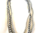 Silver Gray Beaded Necklace,  Vintage Necklace, Vintage Beads, Multi Strand Necklace (3kbx)