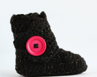 Black With Multicolored Sparkle Infant Crochet Scallop Wrap Boots- Choose your Size