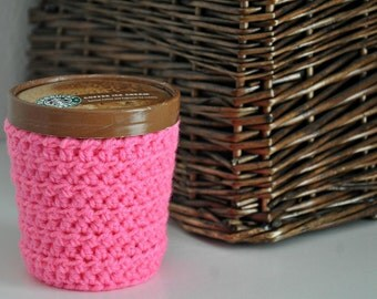 Hot Pink Ice Cream Cozy Crocheted Holder Pint Size Eco Friendly Reusable Cover Ice Cream Holder Friend Gift Easy Hold