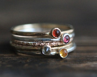 Dainty Five Stacking Ring Set- Silver & Rose Gold Filled Band w Genuine Garnet, Tourmaline, Aquamarine and Citrine and By PaleFish, R028