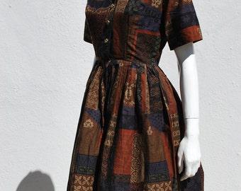 Vintage 50's dress house dress cotton arabesque novelty print size M rockabilly by thekaliman