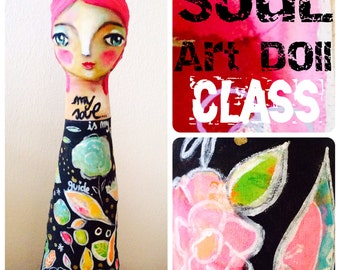 Soul Art Doll - workshop online mixed media painting class