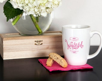 Hot Pink White Ceramic Coffee or Tea Mug with Hand Lettering by Sincerely, Jackie