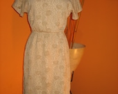 60's Original Gold & Beige Knit Fitted Dress