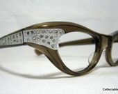 Vintage Eyelgasses. 60s Cat Eye Glasses. Brown Translucent with Rhinestones