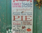 Thanksgiving Traditions, Wood Wall Sign, Subway Art,Typography, Primitve Wall Sign, Fall