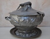 Pewter Art Nouveau Soup Tureen with Lobster and Charger Plate