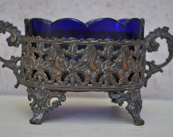 Vintage French Small Jardiniere with Cobalt Blue Liner