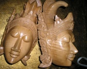 Unique Hand Carved PR.Ornate Wood Figures/Heads Spiritual Hindu Carvings Wall Art/Hangings Detailed to Perfection..