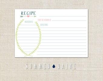 Spring Vine Recipe Card - 4x6 - instant download/digital file
