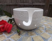 White Stoneware Yarn Bowl with Dahlia Carving