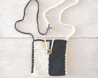25% OFF Cross Body Bag Crochet Small Shoulder Purse Black White Color Block Hippie Hip Bag Long Strap