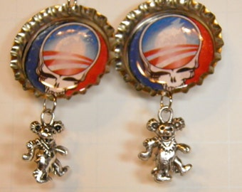 Grateful Dead Earrings, Sterling Silver with Red White and Blue Skull Jewelry, Hippy Jewelry, Hippy Earrings, Grateful Dead Jewelry OOAK #10
