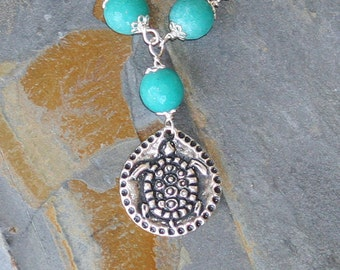 Turtle Necklace, Aqua Necklace, Sink or Swim Necklace, Stone Necklace, Jade Necklace, Blue Necklace, Turtle Jewelry, Handmade Necklace