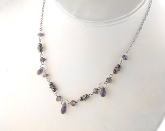 Royal Purple Iolite and Pearl Sterling Silver Necklace