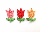 Crochet tulips applique - red flower appliques - green leaves - spring embellishments - DIY project decorations - cotton flowers - set of 3