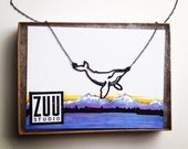 Humpback Whale Necklace, Tiny Blue Whale