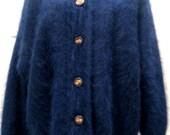 Vintage Angora Blue Sweater / Angora Fur / Electric Blue/ Coat / Jacket