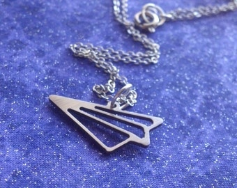 Paper Airplane Origami Charm Necklace Key Chain or Pendant