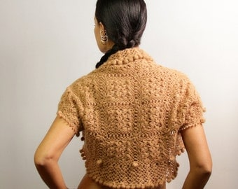 Brown Lace Shrug, Crochet Shrug, Bridal Shrug Bolero, Mohair Shrug, Caramel Bronze Wedding Bolero, Crochet Cardigan S-M-L / by Lilithist