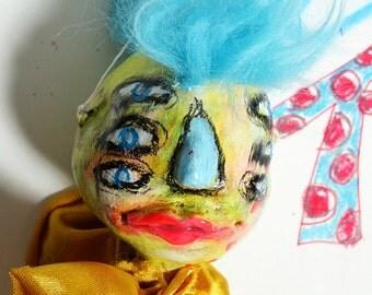 Abstract portrait, Art Doll head Ornament, Outsider art decoration, childlike art sculpture, punk rock stocking stuffer gift