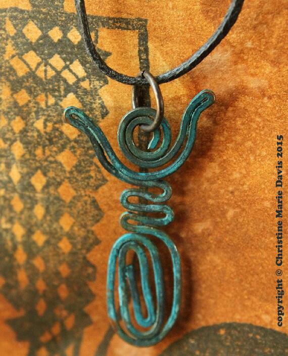 Dancing Moon Goddess Charm Pendant - Rustic Tribal Primitive Verdigris Patina - Copper Wire - Divine Feminine - 1-GCGP