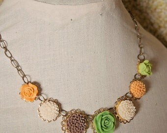 Handmade Flower Necklace Green Flower Bib Necklace Orange Flower Necklace Brown Flower Necklace Resin Flower Jewelry Green Rose Necklace