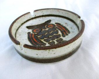 Vintage Ashtray Ceramic Owl  Mid Century Modern Otagiri Japan Dish 1960 60s