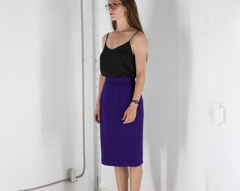 Basic Wool Skirt / Fall Purple Skirt / Fitted High Waisted Skirt