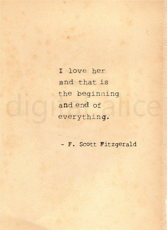 Vintage Typewriter Print F Scott Fitzgerald Quote Wall Art