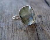 Labradorite Ring. Sterling Silver. Made to Order in any Size. Statement Ring. Valentine's Day Ring.
