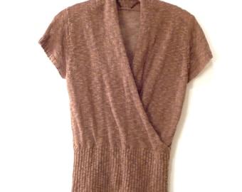 Vtg Soft Brown Knit Top. Cowl Drape Wrap Neckline. Ribbed Waist. Semi-Sheer Textured 70s