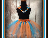 Orange and Turquoise Petti Tutu - Fits Sizes 6 months-5T