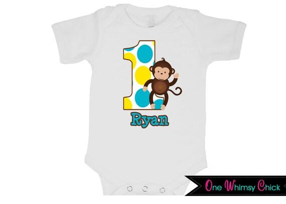 Personalized Boy Monkey Birthday T-Shirt or Bodysuit