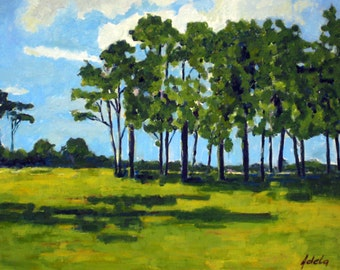 "Original oil painting,Unframed,Landscape with trees 18"" x 14"" (45.6cm x 35.5cm)"