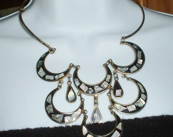 Vintage Alpaca Necklace Mexico Abalone Inlaid Chandelier Necklace Waterfall Multi layers Drop Necklace