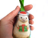 Hedgehog Fabric Holiday Christmas Ornament