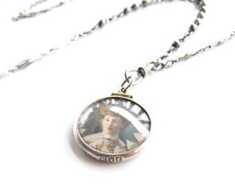 Wanderer — antique sterling photo-frame assemblage necklace