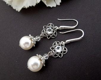 Ivory swarovski Pearl Earrings Bridal rhinestone Earrings Bridal stud Earrings swarovski pearl Wedding Pearl Earrings vintage style SHELLY