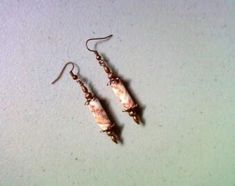 Redline Marble and Copper Earrings (1814)