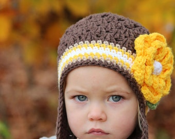 Brown earflap hat for girl, baby girl earflaps hat, toddler girl earflap hat, hat with bright yellow flower, fall colors, any sizes