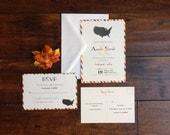 Travel Destination Wedding Invitation Suite, Airmail Stripped Map of States Wedding Invite, Vintage Travel Inspired Wedding Invite