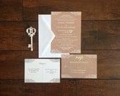 Kraft White Lace Wedding Invitation Suite