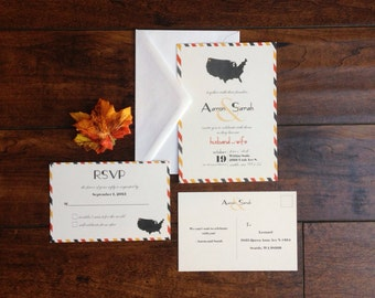Travel Destination Wedding Invitation Suite, Airmail Stripped Map of States Wedding Invite, Vintage Travel Inspired Wedding Invite