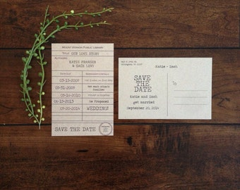 Library Card Save the Date Postcard, Couples Love Story Card, Vintage Library Stamp Card Love Story Save the Date, Kraft Paper Save the Date